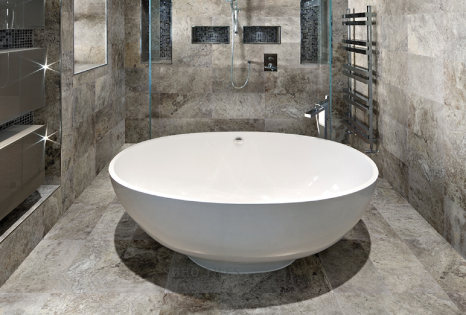 Silver Ash Travertine Bathroom
