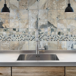 Natural Stone &Glass &Metal Blend Mosaics